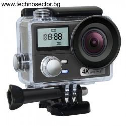 Спортна екшън камера AUSEK, 16 MP (4032*4000), 4К Ultra HD, 170 градуса, Wi-Fi, HDMI, Включени аксесоари, micro USB, Водоустойчивост до 30 м, 2-inch, Black + дистанционно