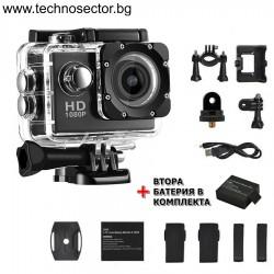 Екшън камера GoPlus, модел SP1080p, с допълнителна батерия, водоустойчива, 1080P (1920 х 1080) Full HD, пълен комплект