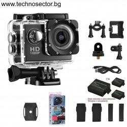 Екшън камера GoPlus, модел SP1080p, с ДВЕ допълнителни батерии, водоустойчива, HD, пълен комплект