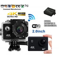 Екшън камера GoPlus, 16 MP, с допълнителна батерия, 4K с WIFI, 170 градуса, HDMI, Включени аксесоари, micro USB, Водоустойчивост до 30 м, 2-inch