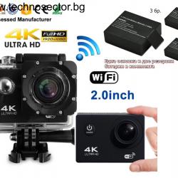 Екшън камера GoPlus, 16 MP, с ДВЕ допълнителни батерии, 4K с WIFI, 170 градуса, HDMI, Включени аксесоари, micro USB, Водоустойчивост до 30 м, 2-inch