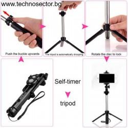 Селфи Стик Трипод Technosector за фотоапарат, телефон, статив, с Bluetooth дистанционно, Черен