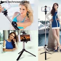 Селфи Стик Трипод Technosector за фотоапарат, телефон, статив, с Bluetooth дистанционно