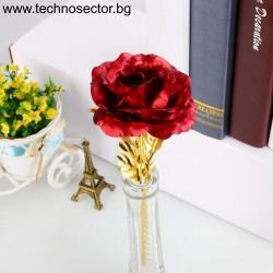 Златна роза SIAPRO, 24 К, 24 см, Цвят Червена