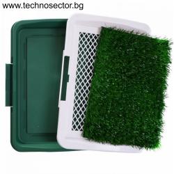 Кучешка тоалетна с тава и изкуствена трева, 47х35х6 см, зелена