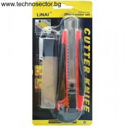 Макетен нож с резвервни 5 броя ножчета в кутийка