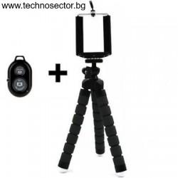 Мини статив трипод TSE-TV26 за смартфон и фотоапарат, с Bluetooth дистанционно, с гъвкави крака