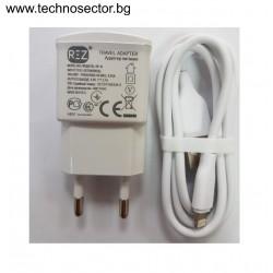 Мрежово зарядно устройство REZ, модел RE-10, 2.1 A, 2 в 1 USB+Data cable+Кабел iPhone, Бял