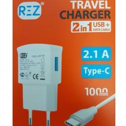 Мрежово зарядно устройство REZ, модел RE-10, 2.1 A, 2 в 1 USB+Data cable+Кабел Type-C, Бял