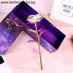 Златна роза SIAPRO, 24 К, 24 см, Цвят Кристали