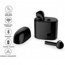 Безжични слушалки i7S tws тип AirPods с кутия зарядна станция - Черни