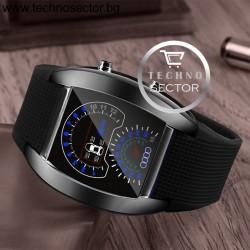 Часовник Rigardu, LED, с уникален дизайн имитиращ километраж на кола, Черен