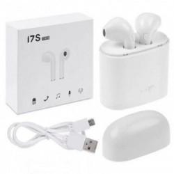 Безжични слушалки i7S tws с зарядна станция и кабел за зареждане, Mic, Multipoint, Бели