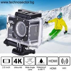 Спортна екшън камера OEM, 16 MP (4608*3456), 4К Ultra HD, 170 градуса, Wi-Fi, HDMI и включени аксесоари