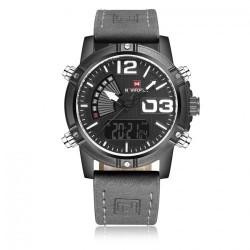 Стилен мъжки часовник NAVIFORCE с аналогов и дигитален LCD дисплей – СИВ